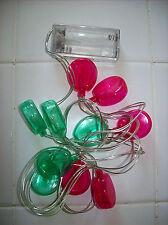 LED String Light Pink/Green Balloon 10 Lights 4ft string Battery Pack Indoor New