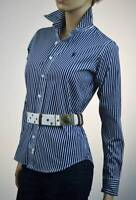 Ralph Lauren Sport Navy & White Stripe Long Sleeve Blouse Shirt Navy Pony -NWT