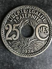 More details for vintage 1924 6 french cup coasters set metal coin liberte egalite fraternite 25
