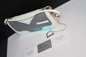 CHRISTIAN DIOR $4,400 PEARL BAG CLUTCH GREY & IVORY ATTACHED PEARL STRING NEW