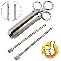 Stainless Steel Seasoning Marinade Injector Gun Flavor Needle Meat BBQ Cooking