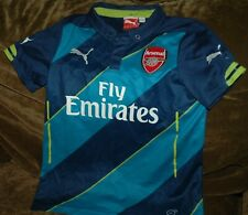 Arsenal soccer jersey YOUTH medium  with collar Benjamin #18 Fly Emirates blue
