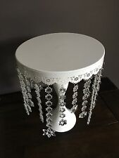 10 Inches Cake  Cupcake Stand white  With Crystal Pendent.  Gorgeous!