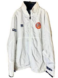 MOOTO Martial Arts Full Zip Jacket Size 200 (6) USA Taekwondo USA White