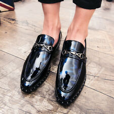 Men's British Pointy Toe Leather Shoes Shiny Slip on Breathable Non-slip Party
