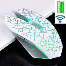 RICARICABILE 2.4 GHz Wireless 2400DPI silenziosa illuminata USB Gaming Mouse Bianco