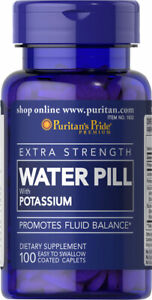 WATER PILLS EXTRA STRENGTH W/ POTASSIUM 100 CAPS WATER WEIGHT. LOSS! ON SALE!