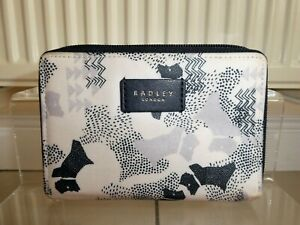 *RADLEY* Ladies Blue Coated Cotton Medium DATA DOG ZIP AROUND PURSE GC rrp£45