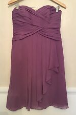 David's Bridal Wister Short Crinkle Chiffon Dress with Front Cascade size 8