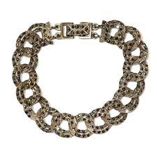 """925 Sterling Silver ladies marcasite bracelet 26.3g vintage 7"""" estate vintage"""