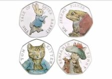 Full set 2017 Beatrix Potter 50p COLOURED Coins Peter Rabbit Jeremy Fisher Tom