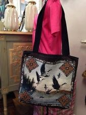 Canadian Geese Flying over Lake Rustic Lodge Cotton Woven Tapestry Tote Bag NEW