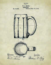 Beer Mug Patent Poster Art Vintage Bar Tavern Signs Home Brewing Kits PAT35