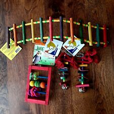 Wood And Rope Bird Cage Activity Toys Lot Hanging Toys Climbing Ladder 4 Pc Set