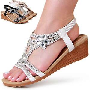 Damen Keilabsatz Sandaletten Glitzer Riemchen Keil Sandalen Blume Trendy