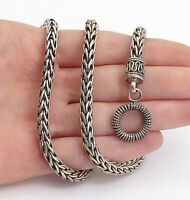 925 Sterling Silver - Vintage Minimalist Swirl Wheat Chain Necklace - NE1074