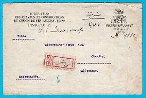 TURKEY R cover 1925 Angora to Germany - Angora-Sivas railway