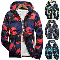 Men Sweatshirt Casual Camo Hoodie Loose Fit Hooded Coat Jacket Outwear Sports