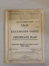 1927 Joint Excursion Railroad Tariff C-No.98 Excursion Fares on Certificate Plan