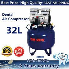 850w Dental Air Compressor Portable Medical Noiseless Silent Oil Free Tank 32l