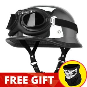 AHR DOT German Black Leather Motorcycle Half Face Helmet Biker Pilot Goggles M L