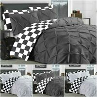 CHECK PINTUCK DUVET SET 100% COTTON QUILT COVER DOUBLE SUPER KING SIZE BEDDING