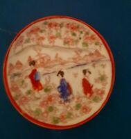 VTG Hand Painted Geisha's In Garden Scene Porcelain Plate Kutani Signed EUC