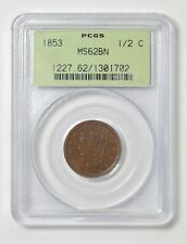 1853 1/2c. Half Cent. Braided Hair. PCGS MS62 BN. Nice Type Coin