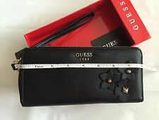 "Guess wallet Clutch Black Flowers 8""x4"" 100% Authentic Good Gift NEW in Box"