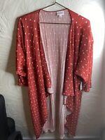 NWT LuLaRoe Shirley Kimono Duster Polka Dot Medium Red White Cover Up Size M