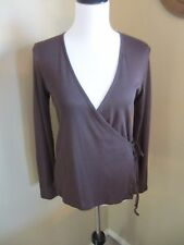 BANANA REPUBLIC BROWN KNIT WRAP AROUND TOP WITH LONG SLEEVE SMALL