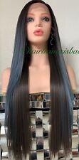 "pastel lace front wig Light Blue Dark Brown Ombré Straight Heat Ok 26"" Long"