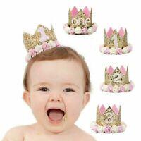 Baby 1st Birthday Crown Hat Princess Flower Tiara Headband Garland Party Decors