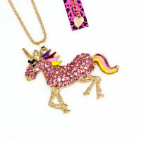 Betsey Johnson Crystal Rhinestone Unicorn Horse Pendant Sweater Chain Necklace