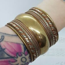 ETHNIC Tribal Brass Bangle Cuff Bracelet Tri-Colour Festival Boho Made In India