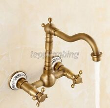 Antique Brass 2-Hole Wall Mounted Bathroom Basin Sink Faucet Mixer Taps tan016