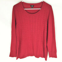 Talbots Red Cable Knit Sweater Size 1X Wool Blend Soft Pullover Womens Comfort