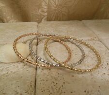 Solid Yellow Gold TRI Color BANGLE Bracelet Set A Great Gift Idea!