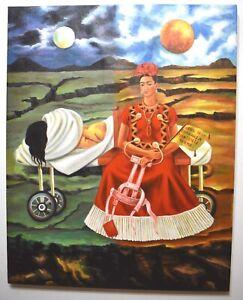 Beautiful Frida Kahlo, painting oil on canvas, signed