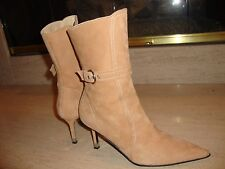 GORGEOUS $795 BEIGE SUEDE MID CALF BOOTS BY CLAUDIA CIUTI WORN ONCE