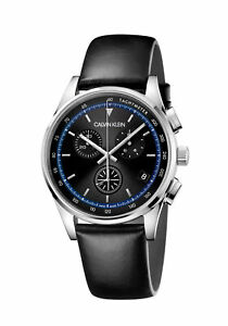 Calvin Klein Men's KAM271C1 Completion 43mm Black Dial Leather Watch