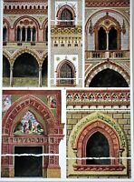 ITALIAN TERRACOTTA BUILDINGS 1914 Historical Ornament Print Middle Ages Print
