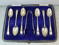 Boxed English Sterling Boxed Set of Six Tea Spoons & Sugar Tongs