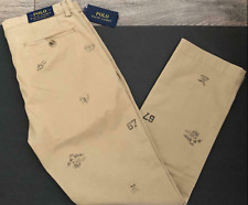 Polo Ralph Lauren 38X32 NEW Tan Chino Varsity Vintage logo Pants Cotton Stretch