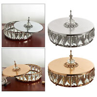 Golden Mirror Base Crystal Vanity Tray Trinket Round Holder Sparkly Bling