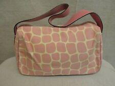 Kate Spade Pink Giraffe Print Canvas & Leather Small Shoulder Purse Handbag