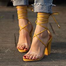 2019 Summer New Fashion Women's Open-toe Chunky Heel Sandals High Heel Shoes 8cm