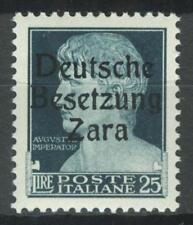 DEUTSCHE BESETZUNG ZARA GERMAN OCC. 1943 WWII - 25 Lire MI. 18II MNH RRR