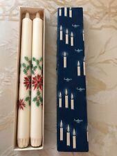 Vtg Unused Danish Modern Pair Christmas Candles Logum Kloster Lys Denmark w/Box