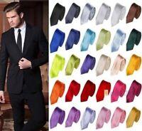 Men Skinny Slim Tie Solid Color Plain Silk Jacquard Woven Wedding Party Necktie